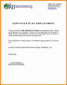 6+ certificate of employment sample format fancyresume