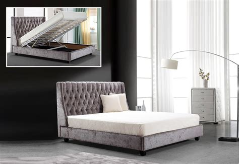 modrest dane transitional tufted fabric bed  lift