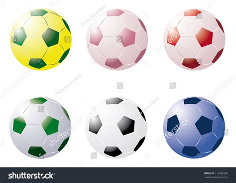 A Vector Cartoon Representing 6 Soccer Balls In Different