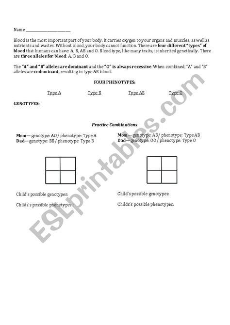 blood type genetics esl worksheet by rdiazladh