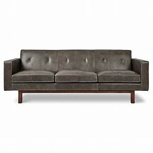 Gus* Modern Embassy Saddle Gray Leather Sofa