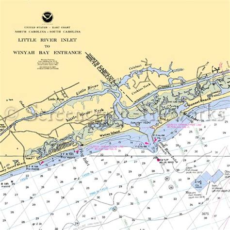 South Carolina - Little River Neck / Nautical Chart Decor