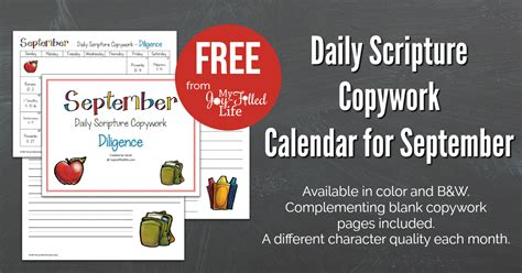 recipe daily sweepstakes calendar daily scripture copywork calendar for september my filled
