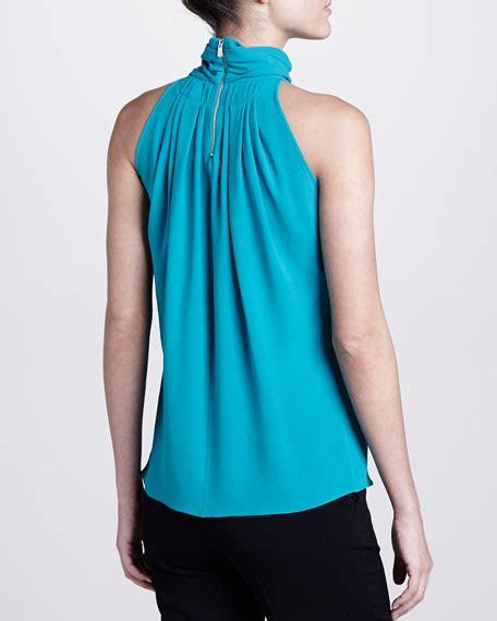 turtleneck blouse michael kors georgette pleated turtleneck blouse turquoise