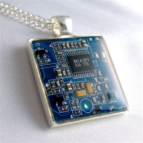 Blue Circuit Board Necklace Girlgeekboutique