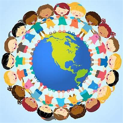 Holding Hands Globe Around Vector Global Village