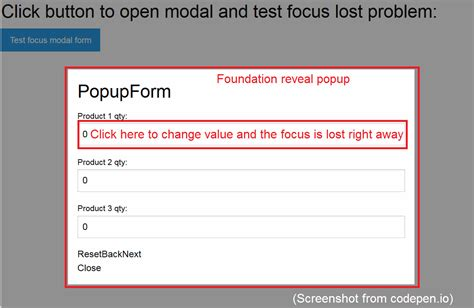 foundation6 reveal popup form field focus lost