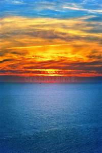 Background Of Sunset Sky And Sea Beautiful Scenery Royalty ...