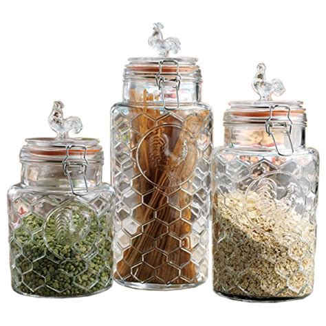 glass kitchen canisters airtight set of three 3 clear glass airtight rooster