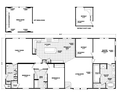 home floor plans the pecan valley iii hi3268a manufactured home floor plan