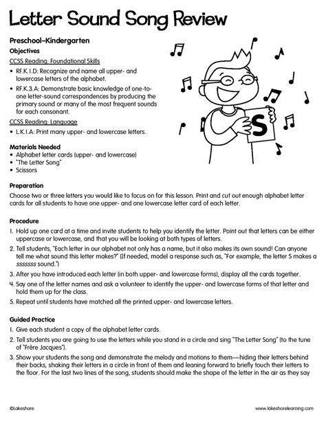 letter sound song review lessonplan lesson plans