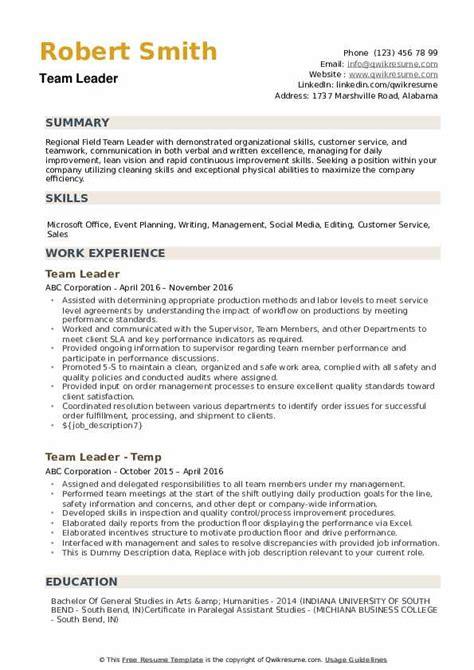 team leader resume samples qwikresume
