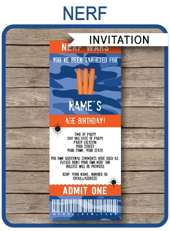 nerf party ticket invitation template nerf wars invite