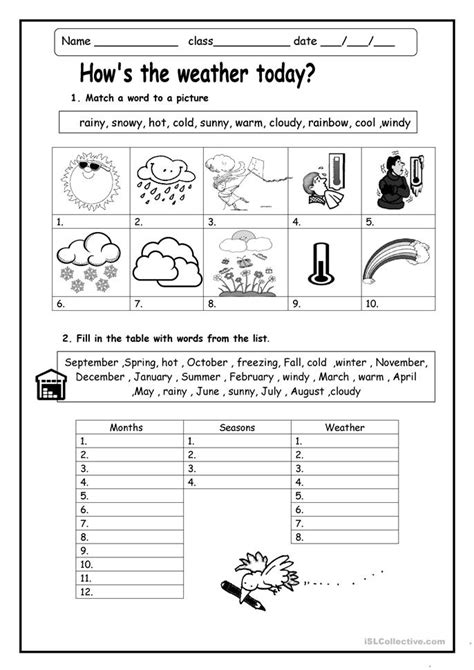 how s the weather worksheet free esl printable