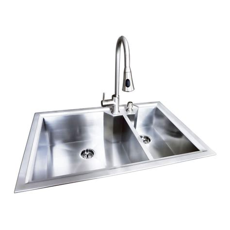 bowl kitchen sink glacier bay dual mount stainless steel 33x22x9 2 6514