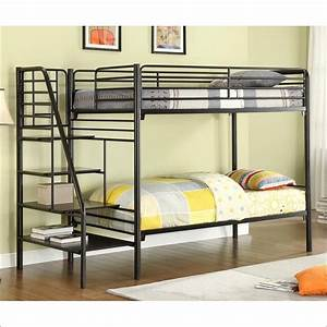 Metal twin over full bunk bed designs for Metal bunk beds twin over full futon