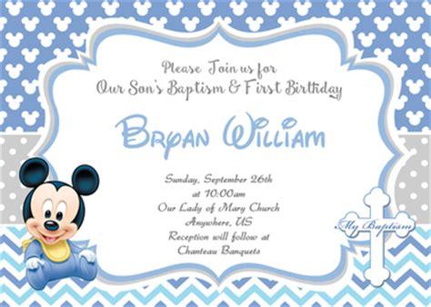 baby mickey st birthday baptism christening invitation