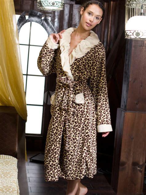 robe de chambre leopard femme prestige leopard peignoir coral pour les femmes milanoo com