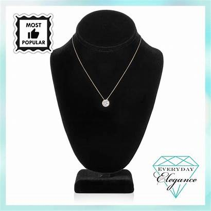 Necklace 14k Solid Solitaire Cubic Zirconia Inch