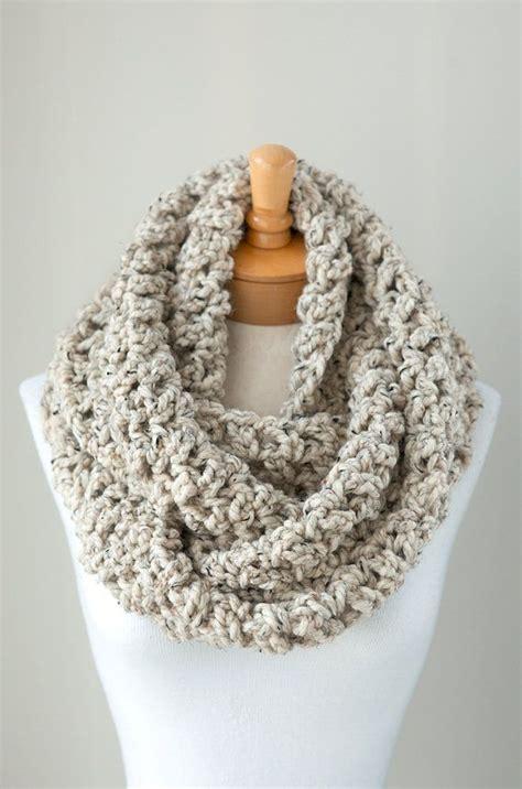 crochet scarfs soft chunky crochet infinity scarf in oatmeal brown crocheted chunky