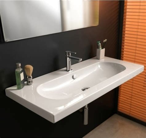 Bathroom Rectangular Sinks by Wide Rectangular Wall Mounted Vessel Or Built In