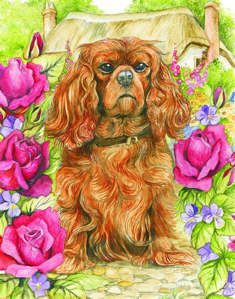 king charles spaniel painting by fitzsimons