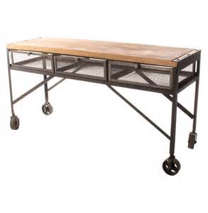 kitchen island casters tribeca industrial mesh drawer caster wheel desk console table kathy kuo home