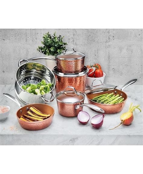 gotham steel hammered copper  pc cookware set reviews cookware kitchen macys