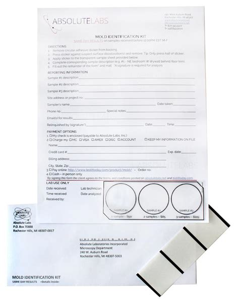 mold test kit determine  visible discoloration