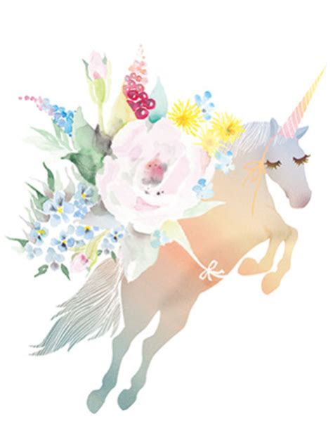 bouquet unicorn watercolor greeting card  masha dyans