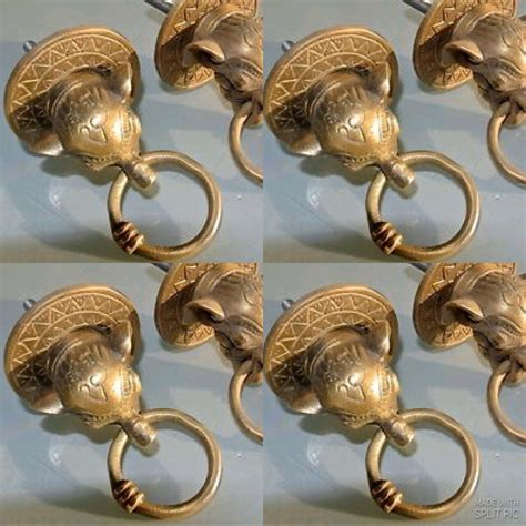 elephant pulls handles antique solid brass vintage