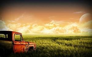 Photo Manipulation Car Field Sunset Wallpapers HD