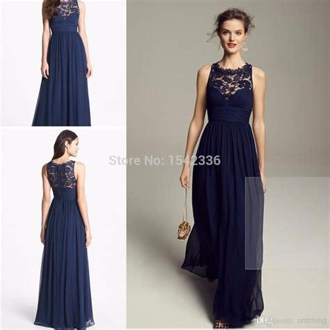 Navy Blue Bridesmaid Dresses Chiffon Long 2016 Floor