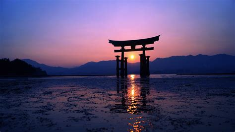 japan sunset purple evening  hd artist  wallpapers