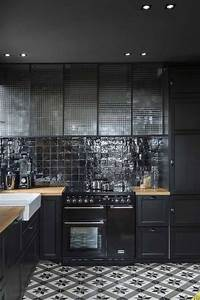Cuisine noir cuisine pinterest placards inspiration for Kitchen colors with white cabinets with porte papiers femme