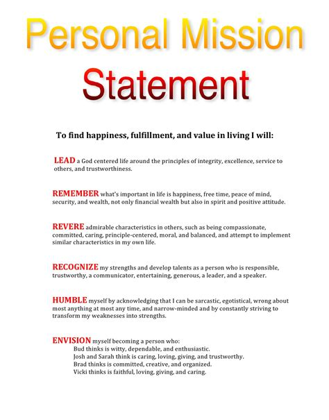 Values Statement Template by My Personal Mission Statement Leadtoday