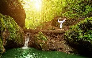 Picture Yoga Girls Cliff Nature Waterfalls Trunk tree Moss