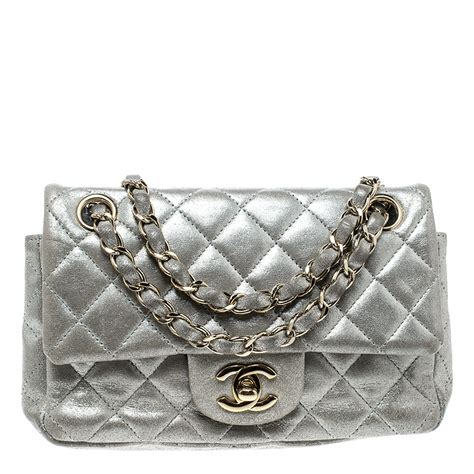 chanel silver quilted leather  mini classic single flap bag chanel tlc
