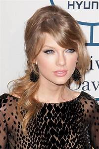Taylor Swift Wavy Light Brown Pinned-Back, Sideswept Bangs ...