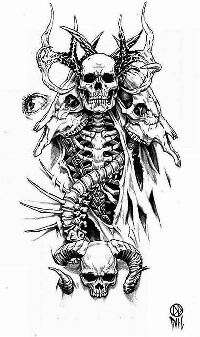 Tattoo Demon Deviantart Skeleton Skulls Skull Drawings