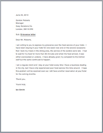 sample grievance letter  sample letters
