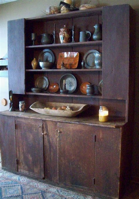 Beautiful Cupboards by A Beautiful Primitive Cupboard Filled With Pewter