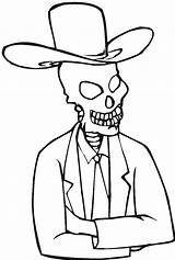 Coloring Cowboy Hat Skeleton Pages Printable Cliparts Netart Getcolorings sketch template