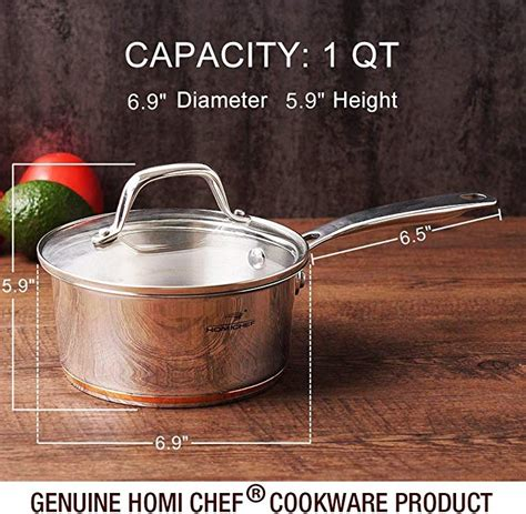 homi chef mirror polished copper band nickel  stainless steel  qt saucepan  glass lid