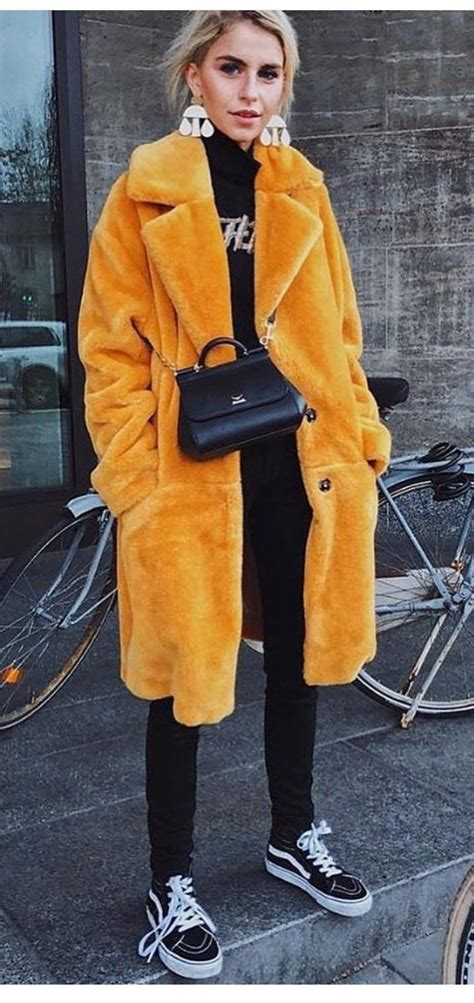 Yellow Faux Fur Coat In 2019 Winter Coat Outfits Fur
