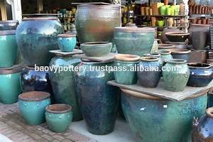 Viet nam glazed pots round big rustic glazed pots buy for Outdoor ceramic planters