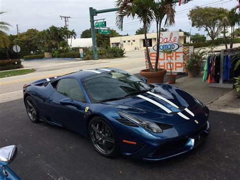 The car had a lot of carbon options like carbon scudaria shields and the. Ferrari 458 Speciale painted in Tour de France Blue w ...