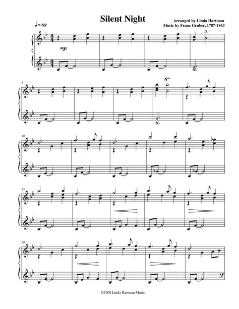 Download and print in pdf or midi free sheet music for stille nacht, heilige nacht, h.145 by franz xaver gruber arranged by baconandeggs for piano (solo). Silent Night (by Linda Hartman -- Piano Solo)