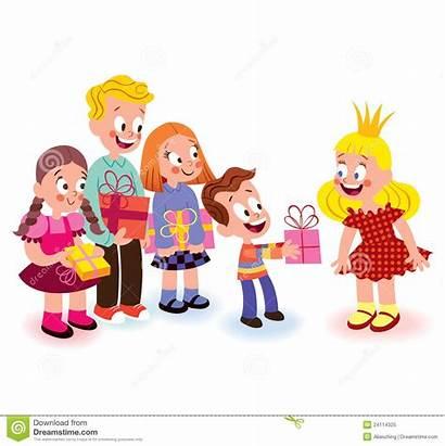 Giving Gift Gifts Children Clipart Geben Geschenke