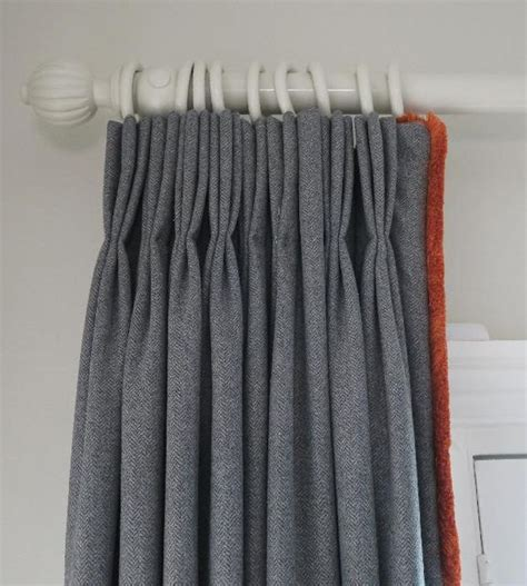 hand painted pole handlined pinch pleat grey curtains